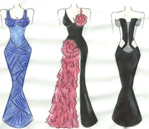 как нарисовать эскиз платья:
