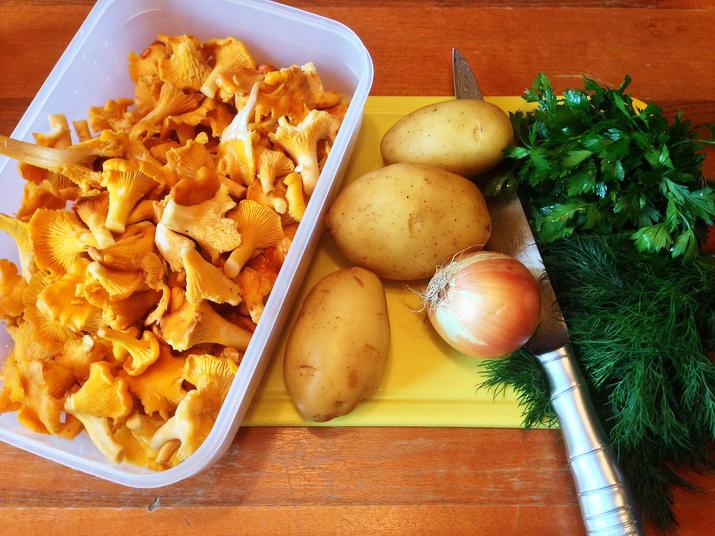 Рецепт жареной картошки с лисичками и луком